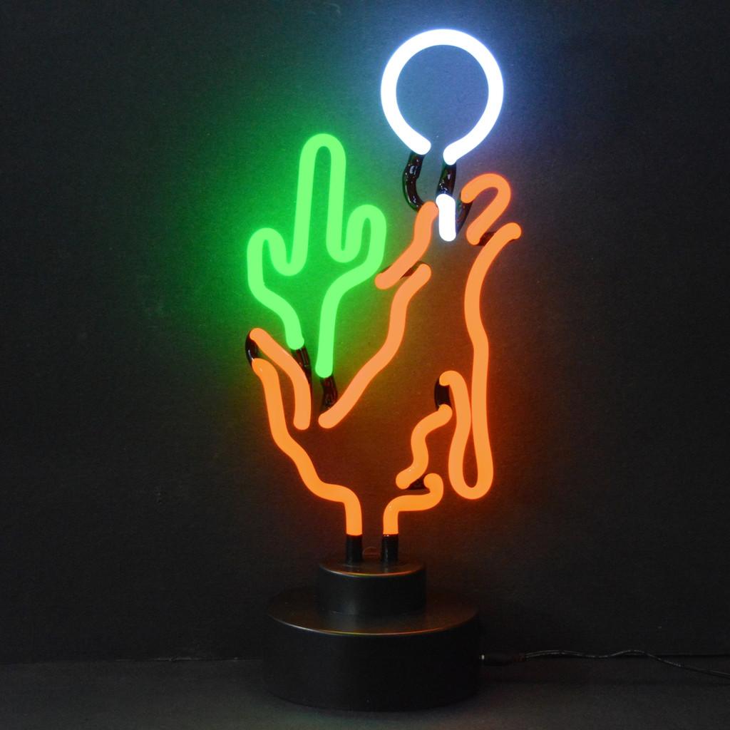 Retro Coyote Moon Cactus Neon Sculpture  7 W  X 18 H X 6 D