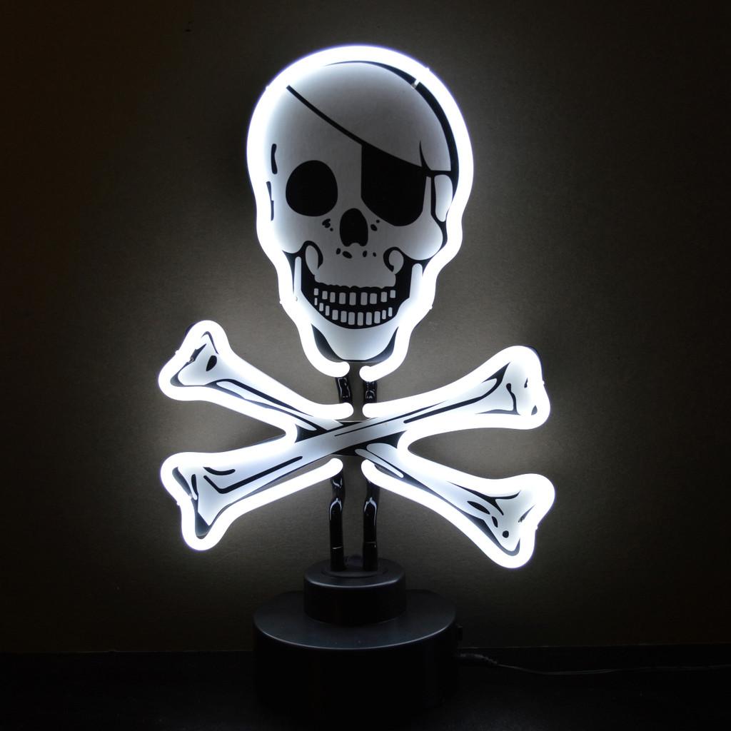 Retro Skull And Crossbones Neon Sculpture  9 W  X 9 H X 6 D