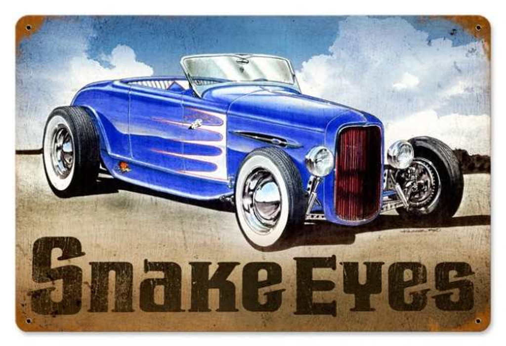 Retro Snake Eyes Hot Rod Metal Sign 18 x 12 Inches