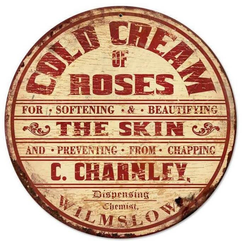 Retro Cold Cream Roses Round Metal Sign 14 x 14 Inches
