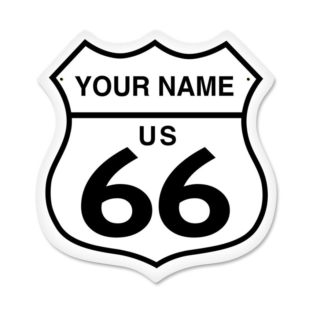 Retro Route 66 Shield Metal Sign 15 x 15 Inches - Personalized