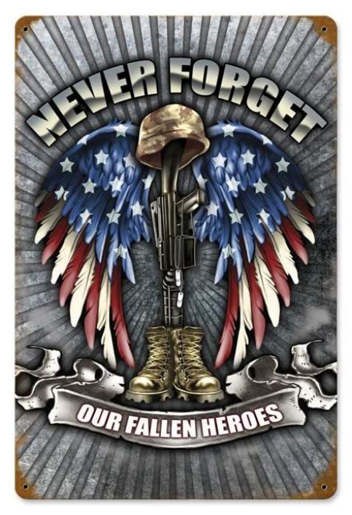 Vintage Fallen Heroes Metal Sign  12 x 18 Inches