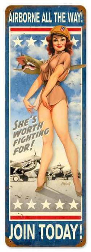 Retro Airborne All The Way  - Pin-Up Girls Metal Sign 24 x 8 Inches