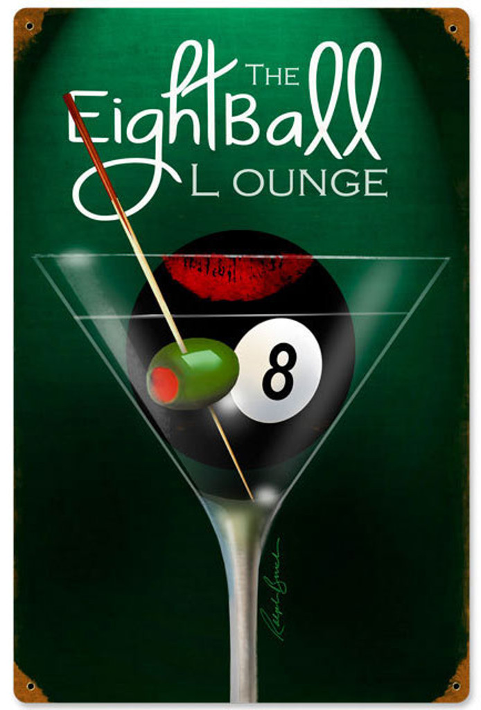 Nostalgic Tin Sign  Eight Ball Billiard Eight