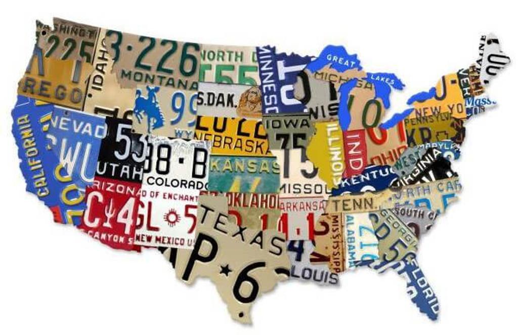 License Plate USA XXL Custom Metal Shape Sign 58 x 36 Inches