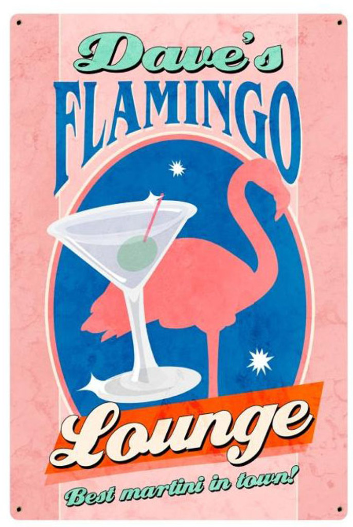 Flamingo Lounge Metal Sign - Personalized  12 x 18 Inches