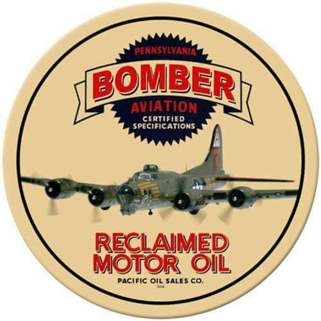 Vintage Bomber Reclaimed Oil Round Metal Sign 14 x 14 Inches