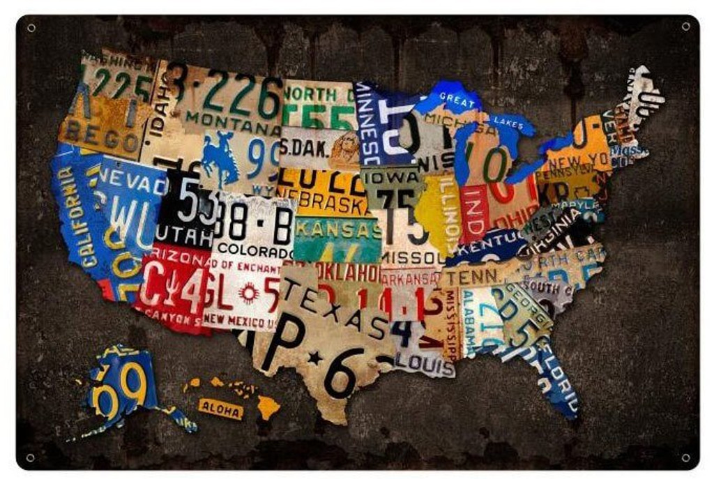License Plate USA Board Metal Sign 24 x 36 Inches