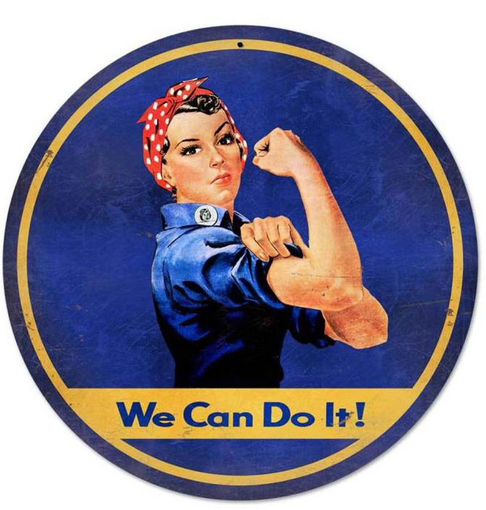 Rosie The Riveter Retro Round Metal Sign 28 x 28 Inches
