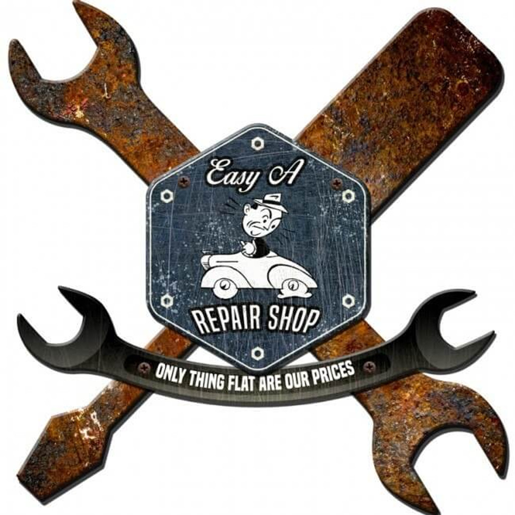 3-D Layered Rustic Repair Shop Metal Sign - Personalized 28 x 28 Inches