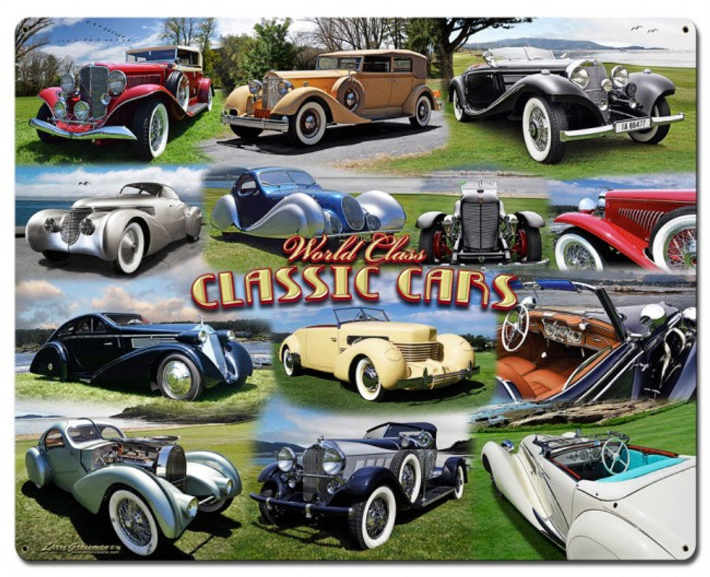 Classic Car Collage Metal Sign 30 X 24 Inches