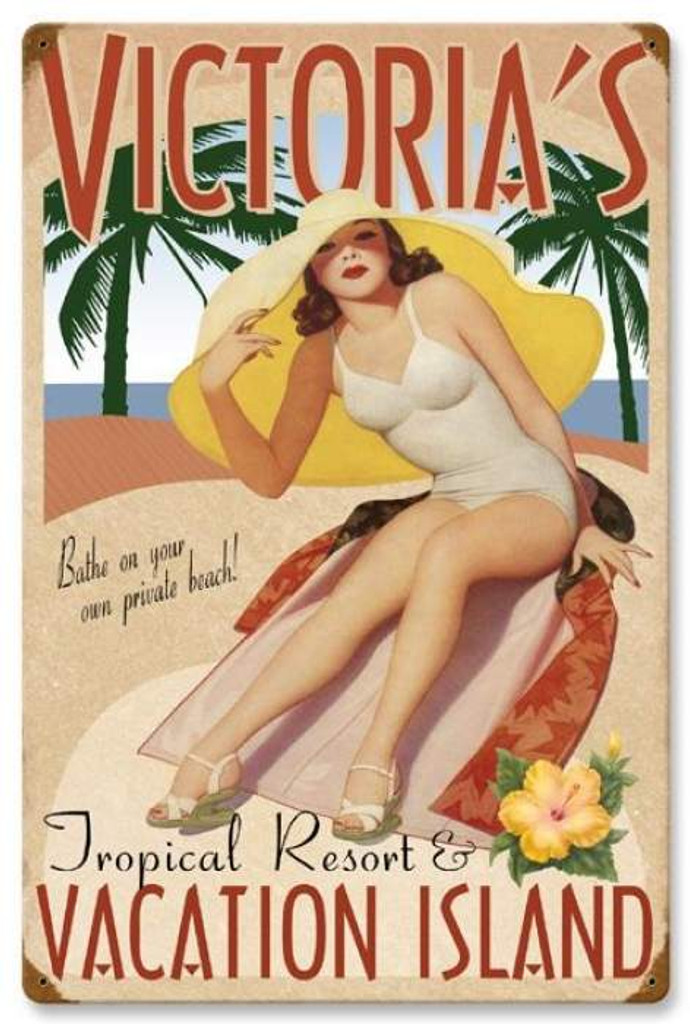 Retro Vacation Island Metal Sign - Personalized 16 x 24 Inches