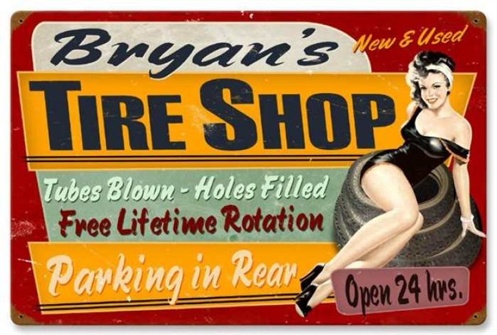 Retro Tire Shop Metal Sign - Personalized 24 x 16 Inches