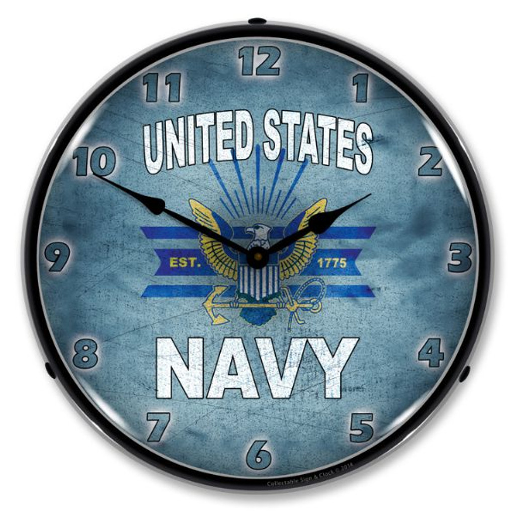 United States Navy Lighted Wall Clock 14 x 14 Inches