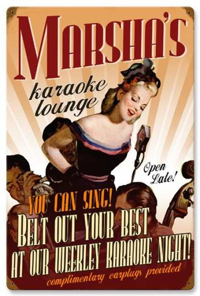 Retro Karaoke Lounge Metal Sign - Personalized 16 x 24 Inches