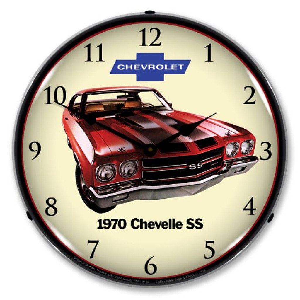 1970 SS Chevelle Lighted Wall Clock 14 x 14 Inches