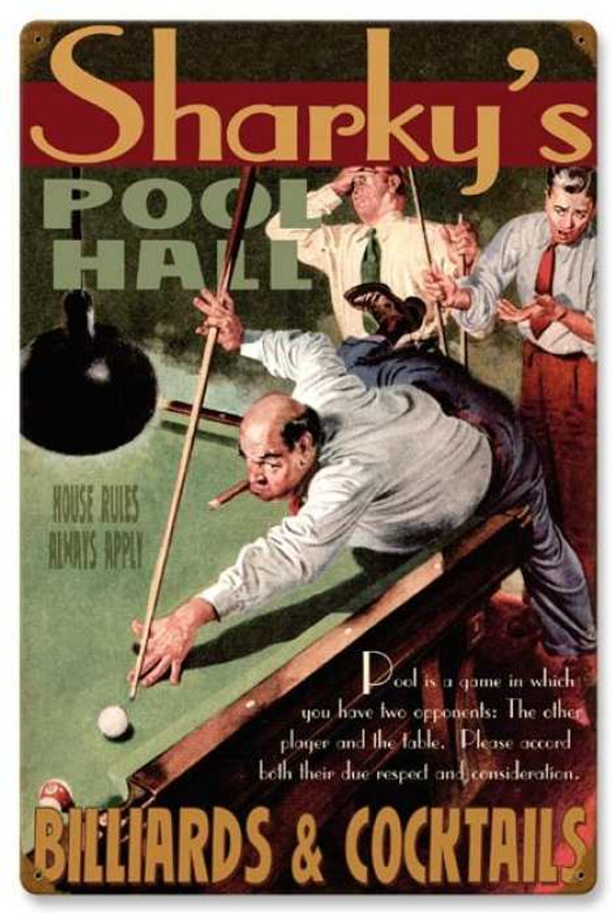 Retro Pool Hall Metal Sign - Personalized 16 x 24 Inches
