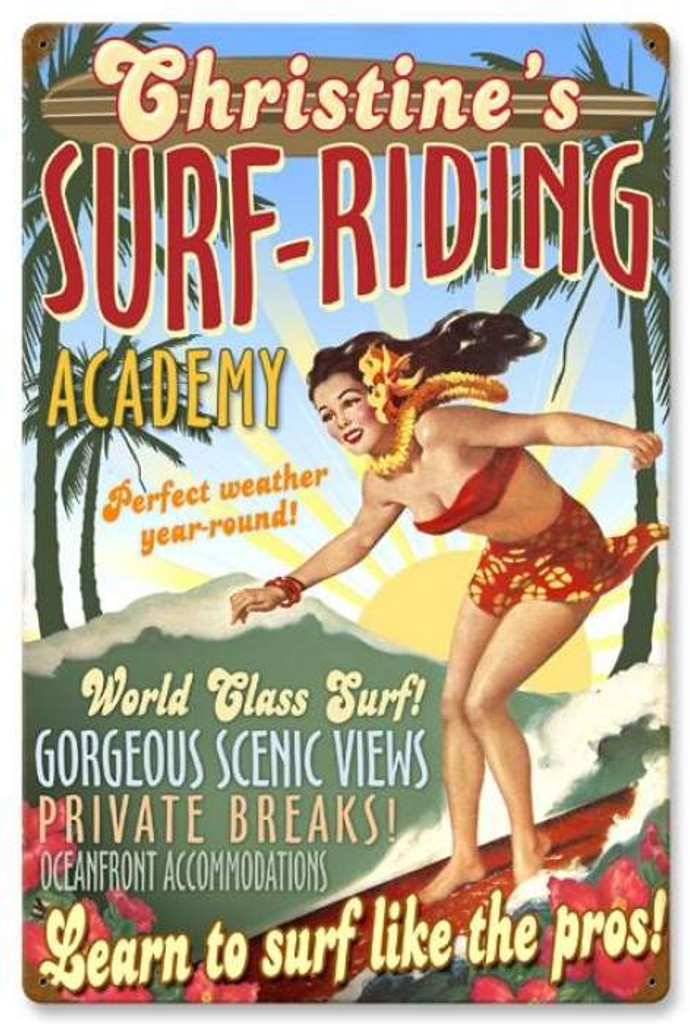 Retro Surf Academy Metal Sign - Personalized 16 x 24 Inches
