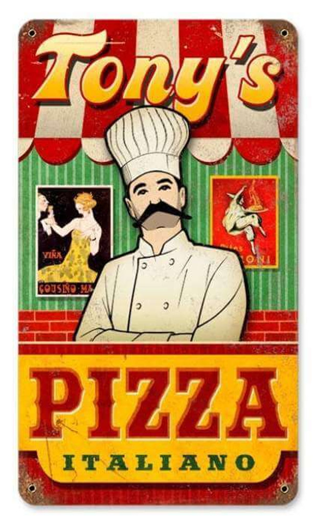 Vintage Pizza Metal Sign - Personalized 8 x 14 Inches