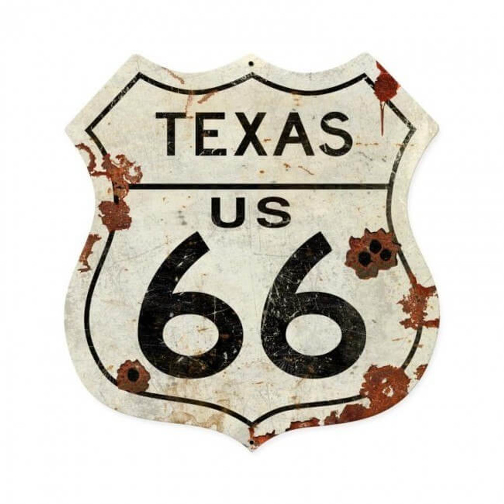 Texas US 66 Metal Sign  28 x 28 Inches