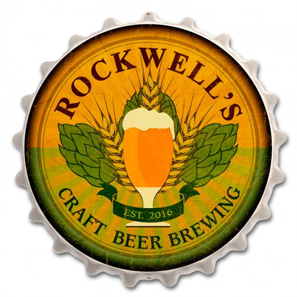 Beer Cap Metal Sign - Personalized 16 x 16 Inches