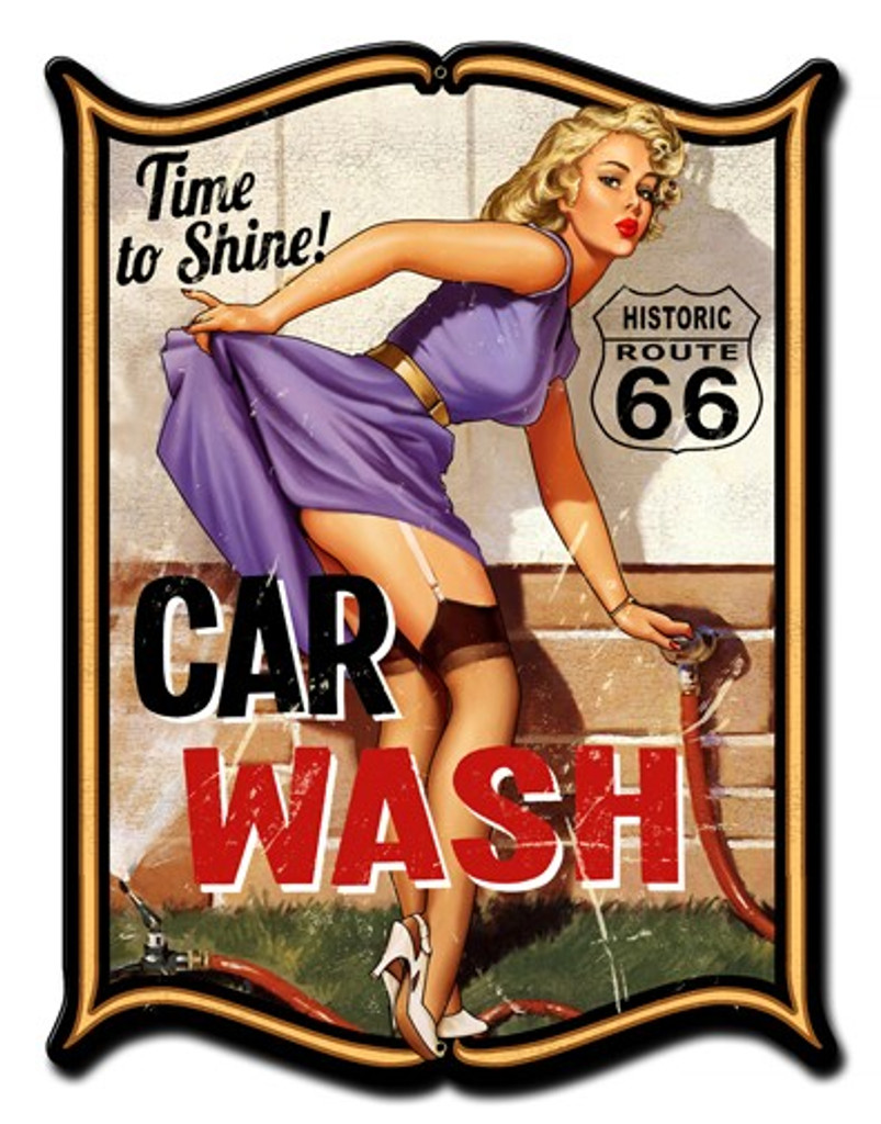 Car Wash Pinup Girl Metal Sign 24 x 33 Inches