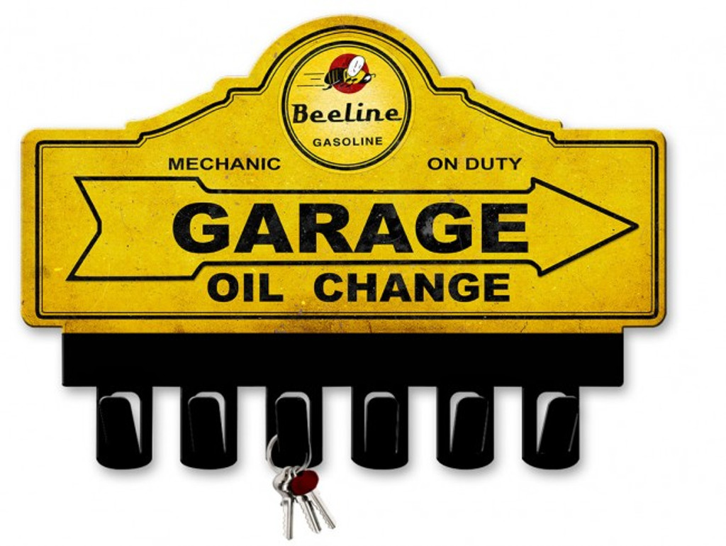 Beeline Gasoline Metal Key Hanger 14 x 10 Inches