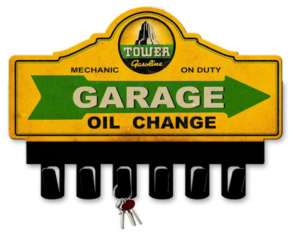 Tower Gasoline Metal Key Hanger 14 x 10 Inches