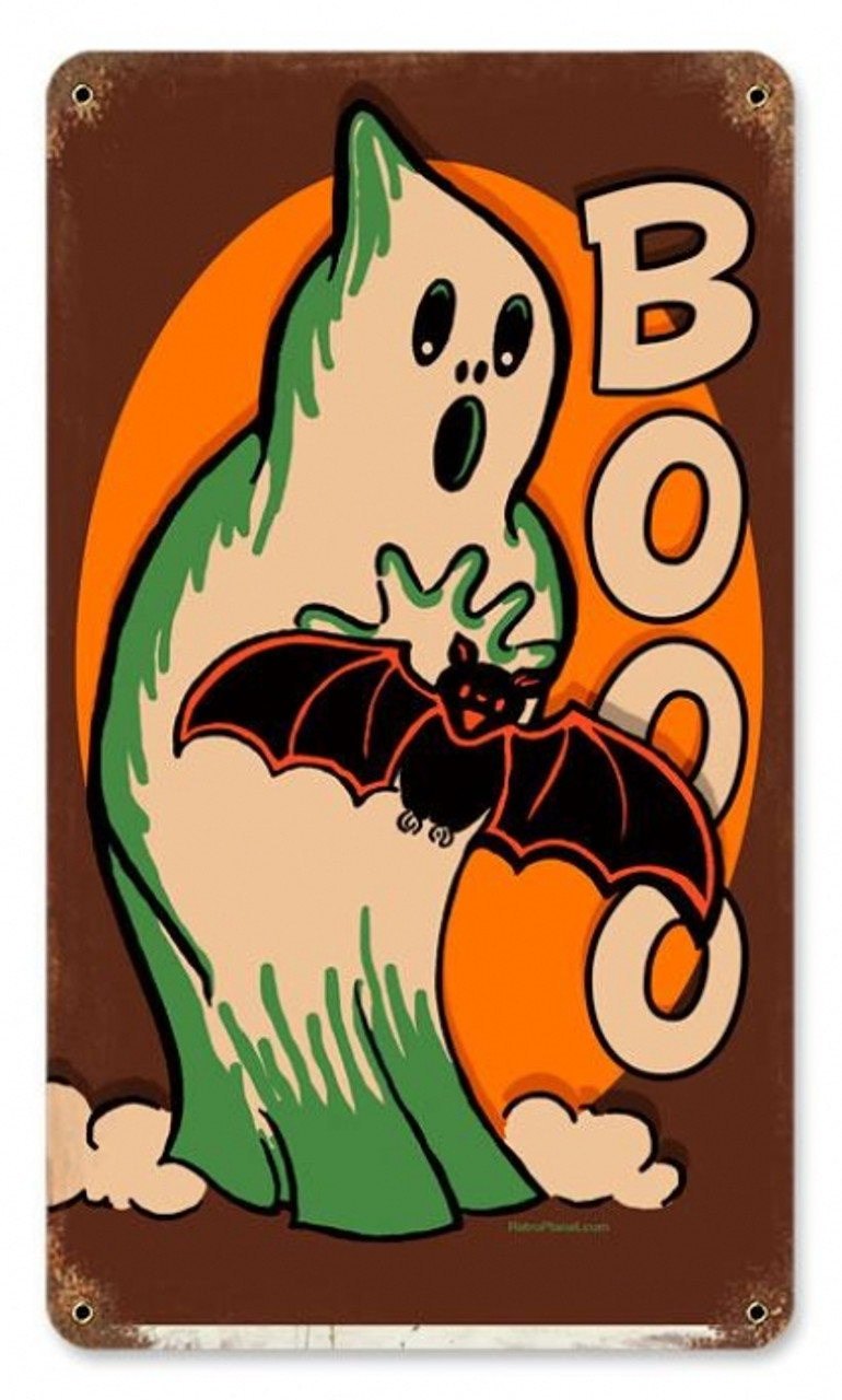 Vintage Halloween Ghost Metal Sign 8 x 14 Inches