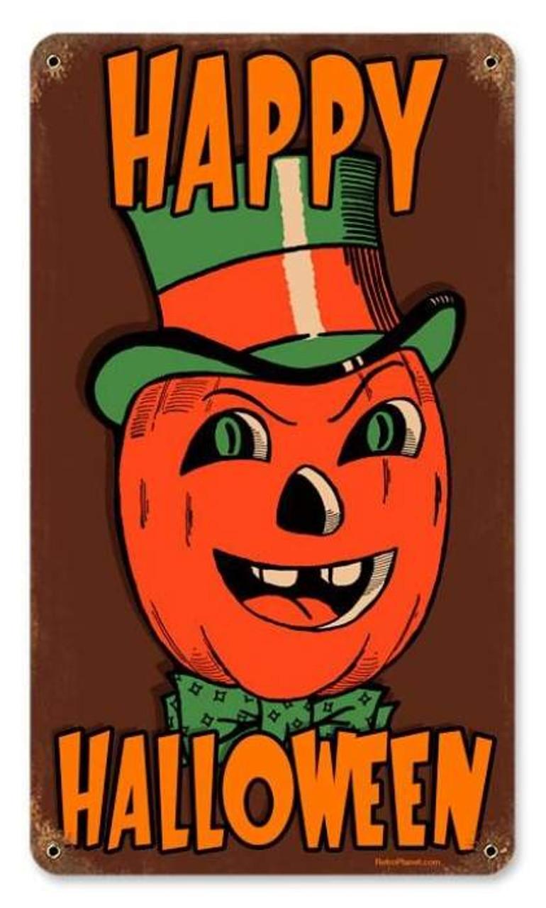 Vintage Halloween Pumpkin Metal Sign   8 x 14 Inches