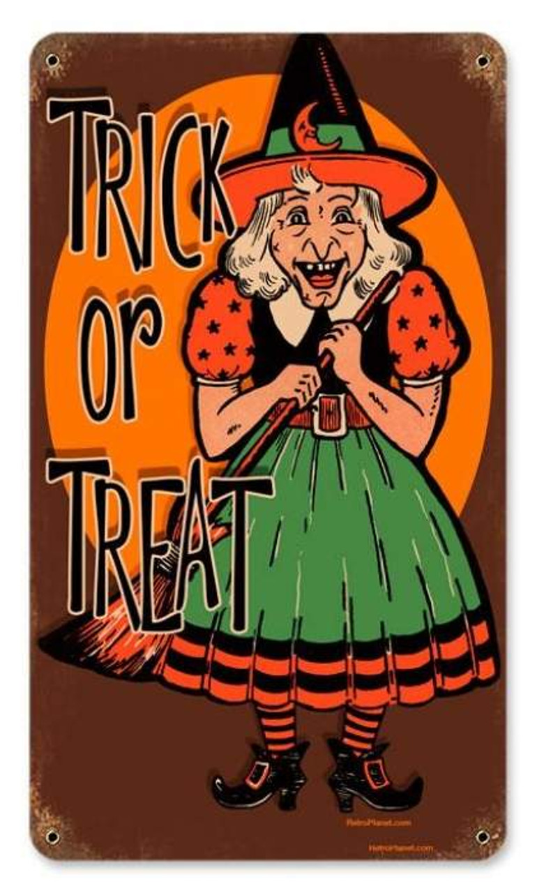 Vintage Halloween Witch Metal Sign   8 x 14 Inches