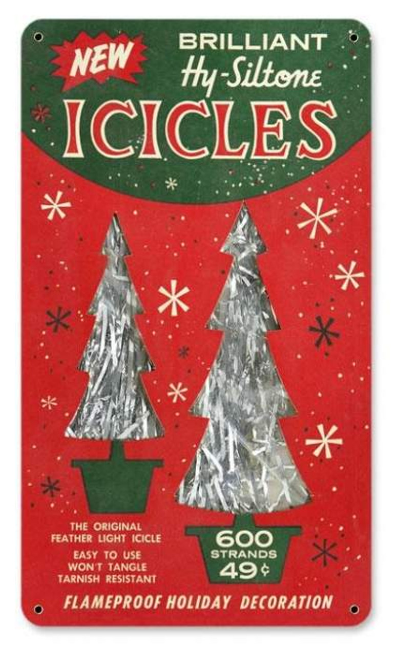 Vintage Icicles Metal Sign 8 x 14 Inches