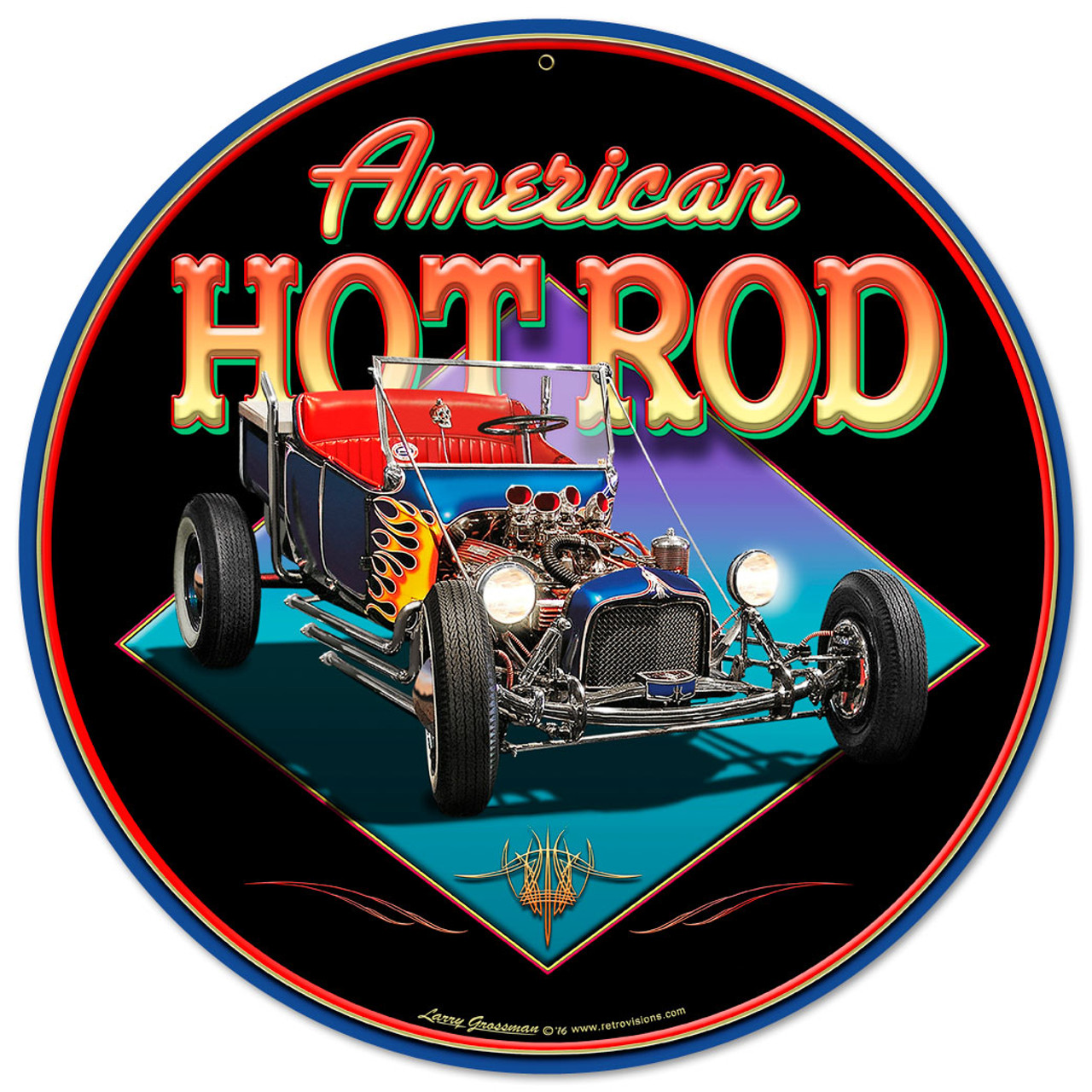 American Hot Rod Metal Sign 14 x 14 Inches
