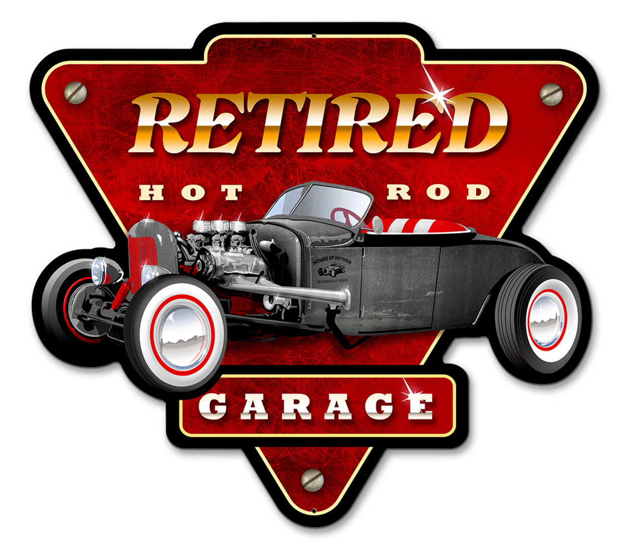 Retired Hot Rod Garage Metal Sign 15 x 14 Inches