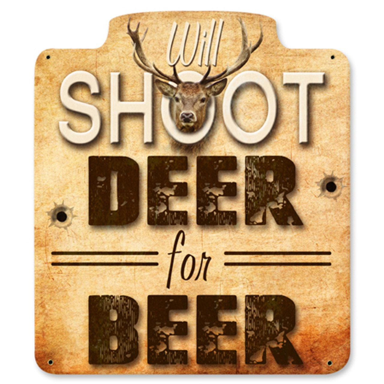 Will Shoot For Beer Metal Sign 12 x 12 Inches