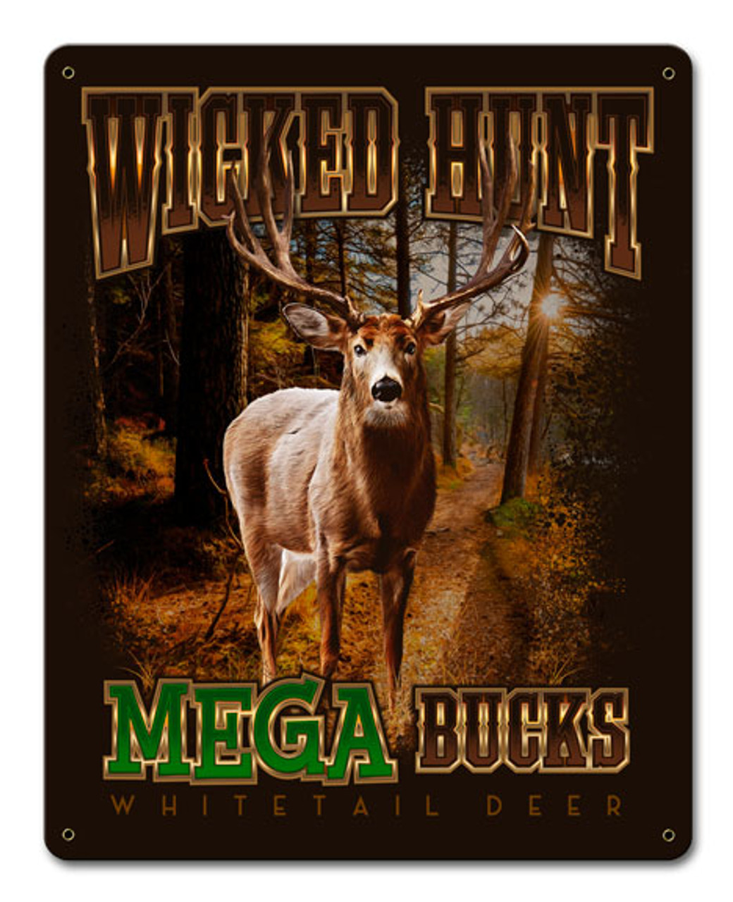 Deer Mega Bucks Metal Sign 12 x 15 Inches