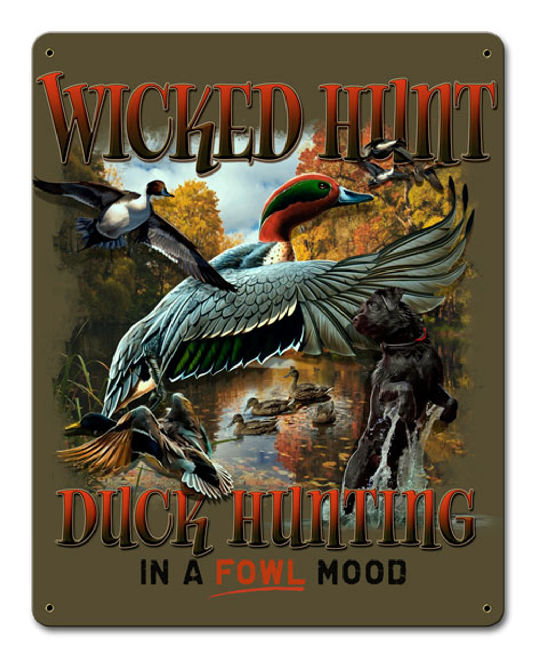 Duck Hunter Green Background Metal Sign 12 x 15 Inches