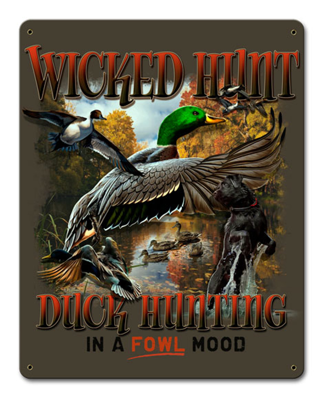 Duck Hunter Brown Backgound Metal Sign 12 x 15 Inches