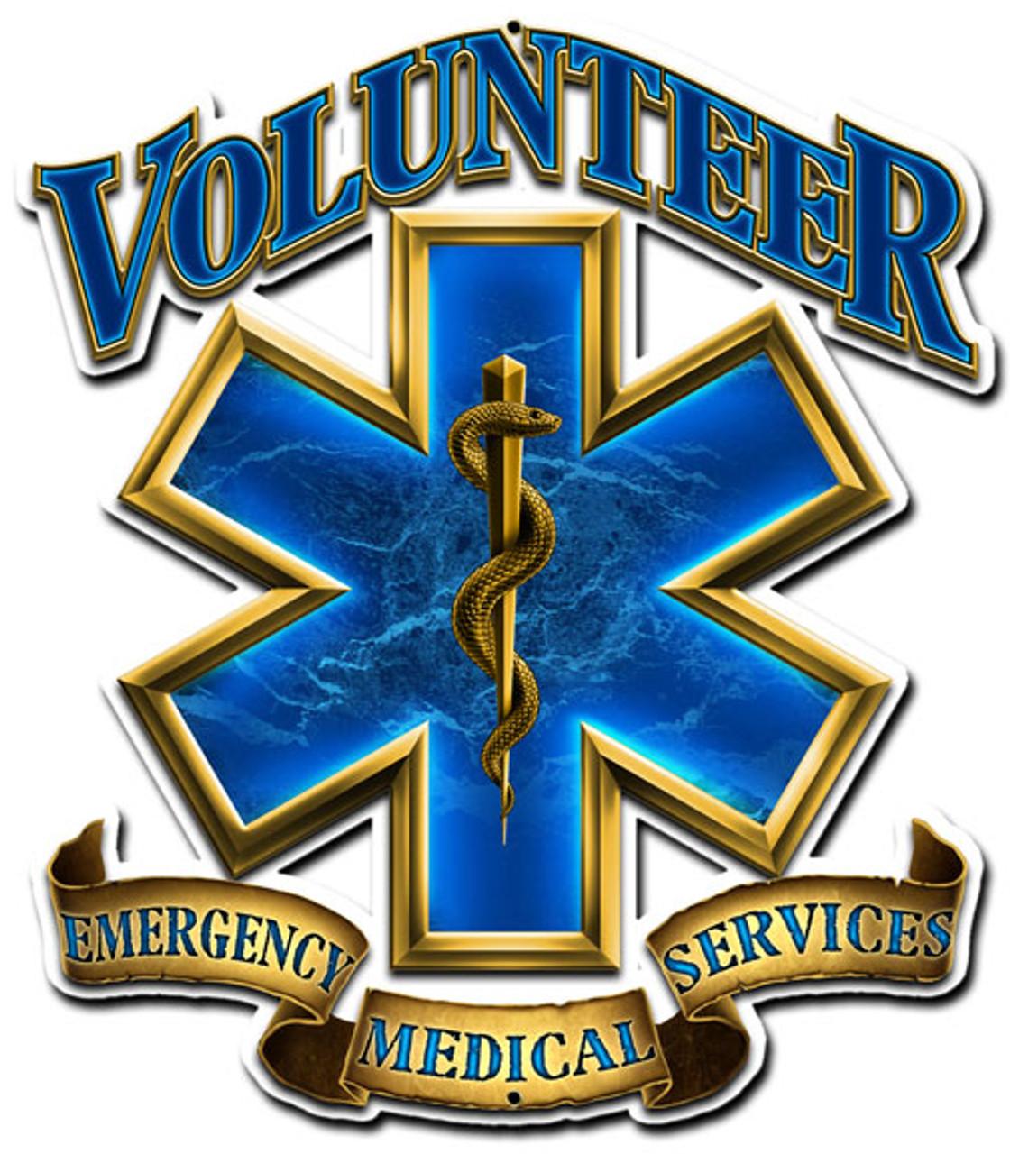 Volunteer Emergency Medical Metal Sign 14 x 16 Inches