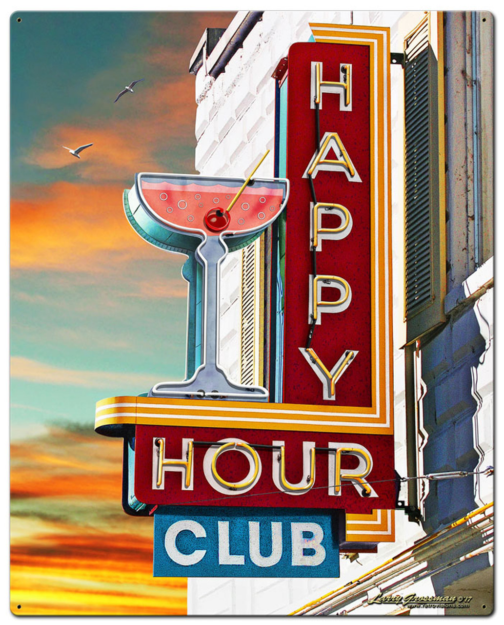 Happy Hour Club Metal Sign 24 x 30 Inches