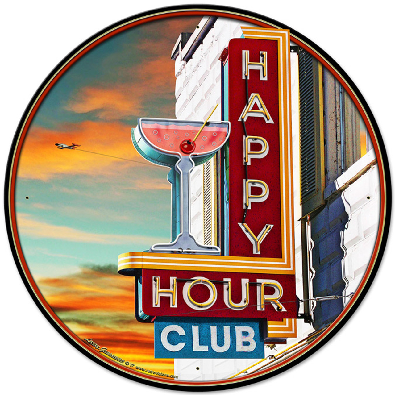 Happy Hour Club Metal Sign 28 x 28 Inches