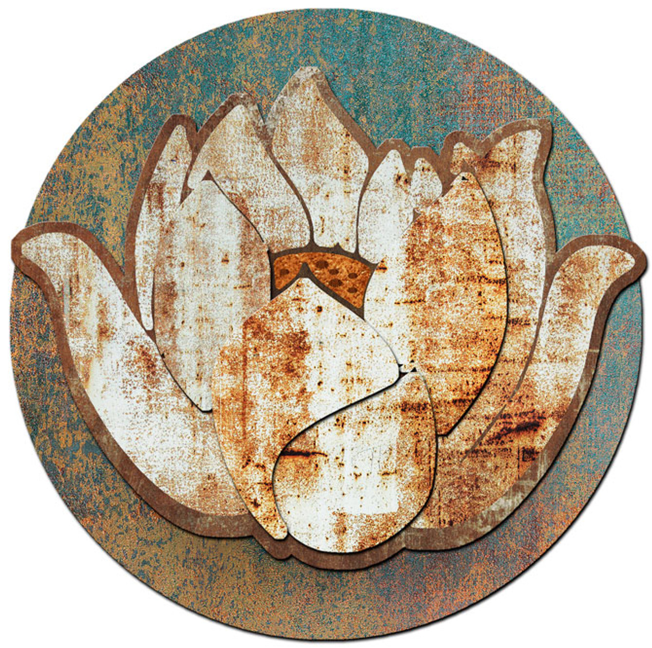 Lotus Flower Rusted Metal Metal Sign 37 x 35 Inches