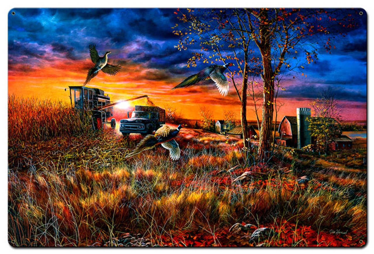 Harvest Ringnecks Metal Sign 36 x 24 Inches