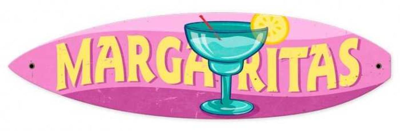 Retro Margaritas Surfboard Metal Sign 22 x 6 Inches