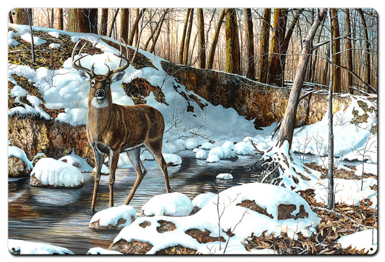River Bottom Buck Metal Sign 24 x 36 Inches