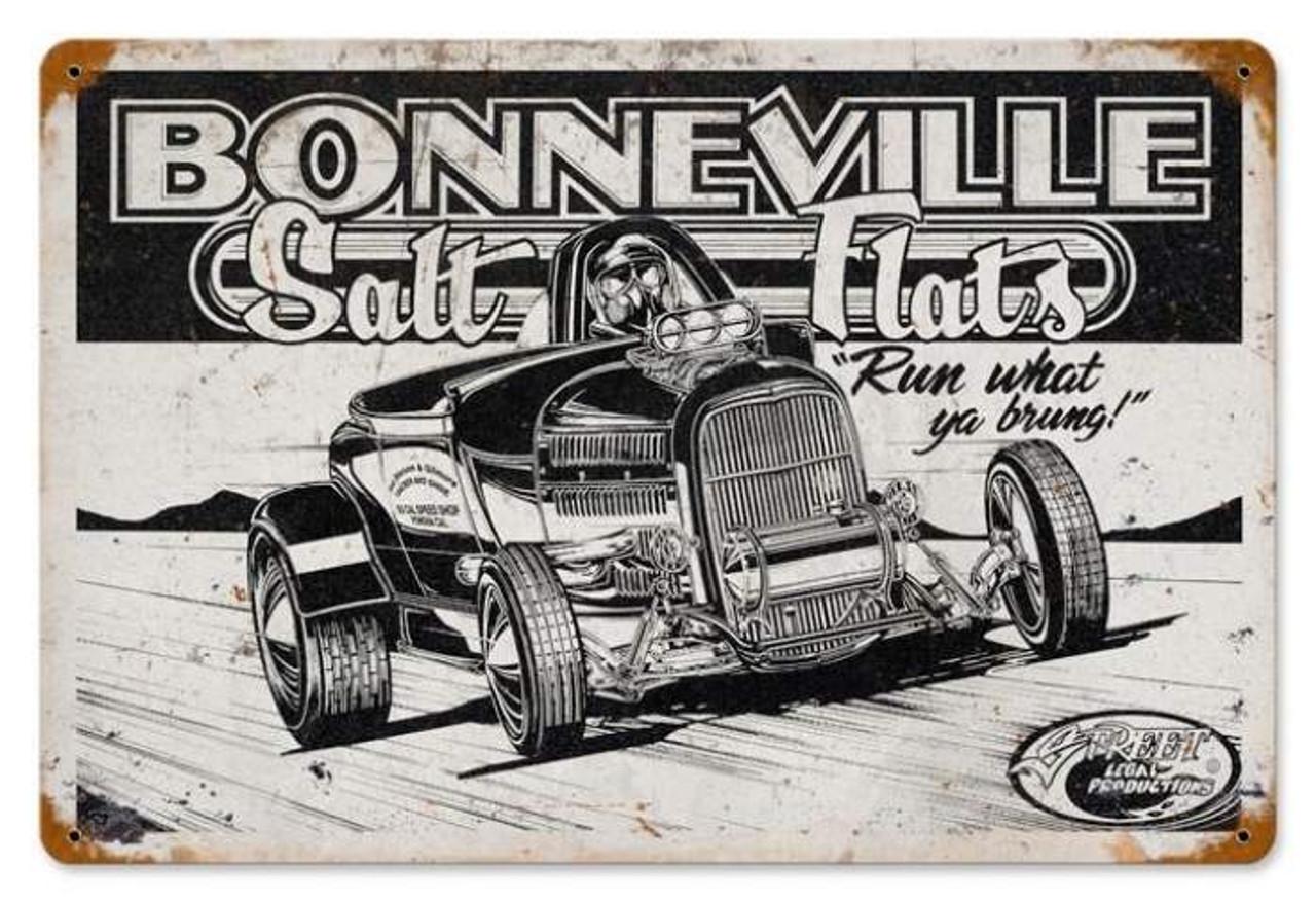 Vintage Bonneville Salt Flats Metal Sign 12 x 18 Inches