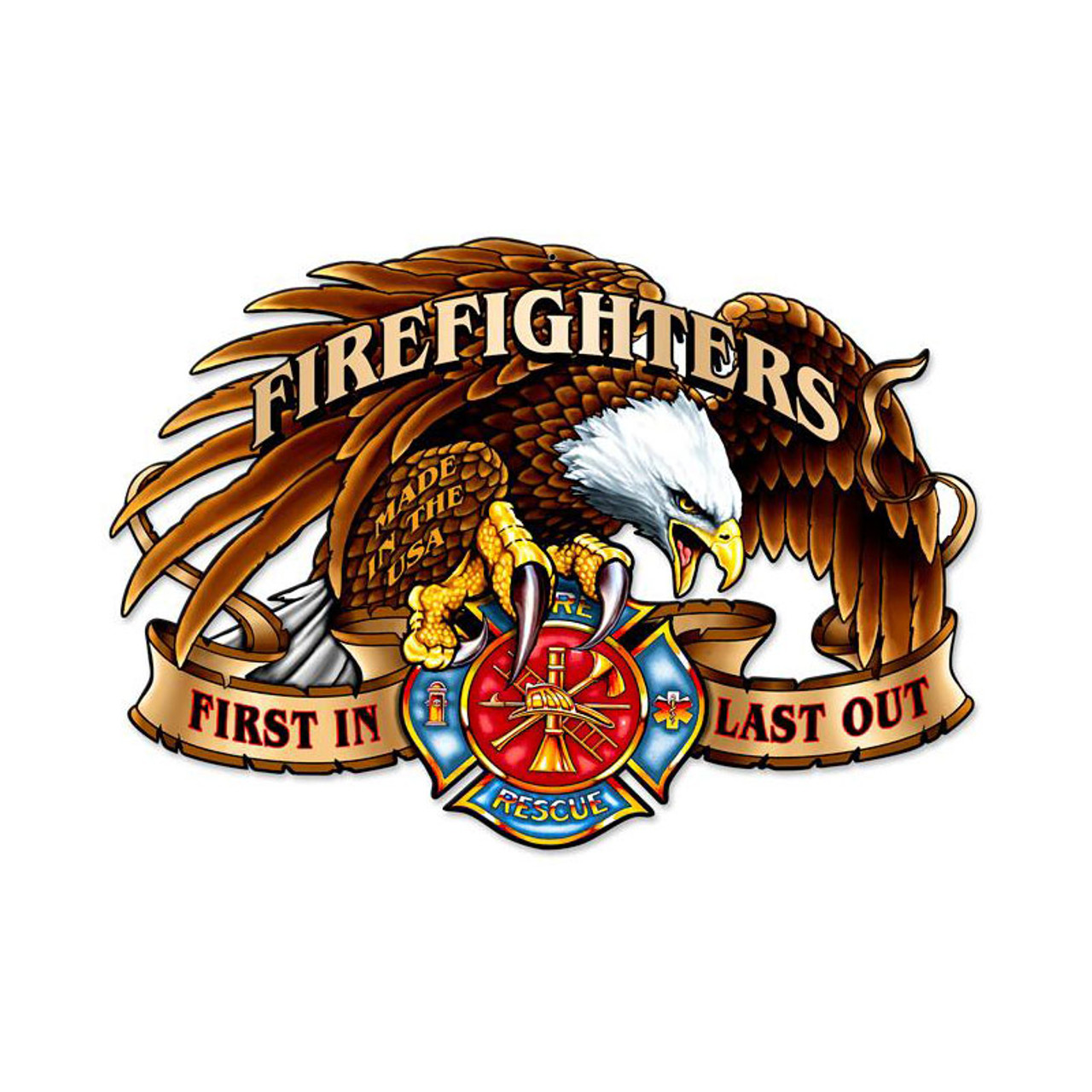 Firefighter Eagle Metal Sign 22 x 16 Inches