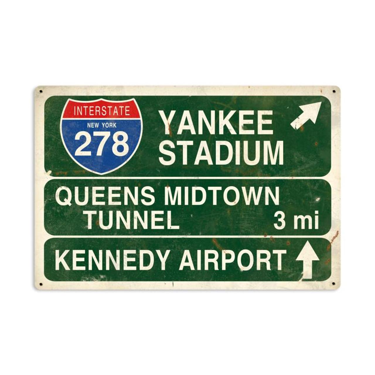 Yankee Stadium Highway Metal Sign 36 x 24 Inches