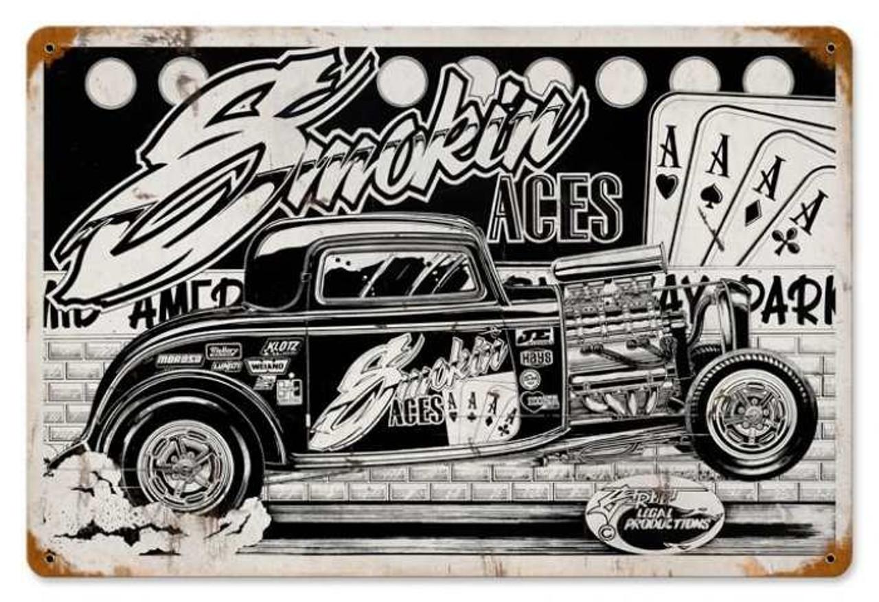 Retro Smokin Aces Metal Sign 18 x 12 Inches