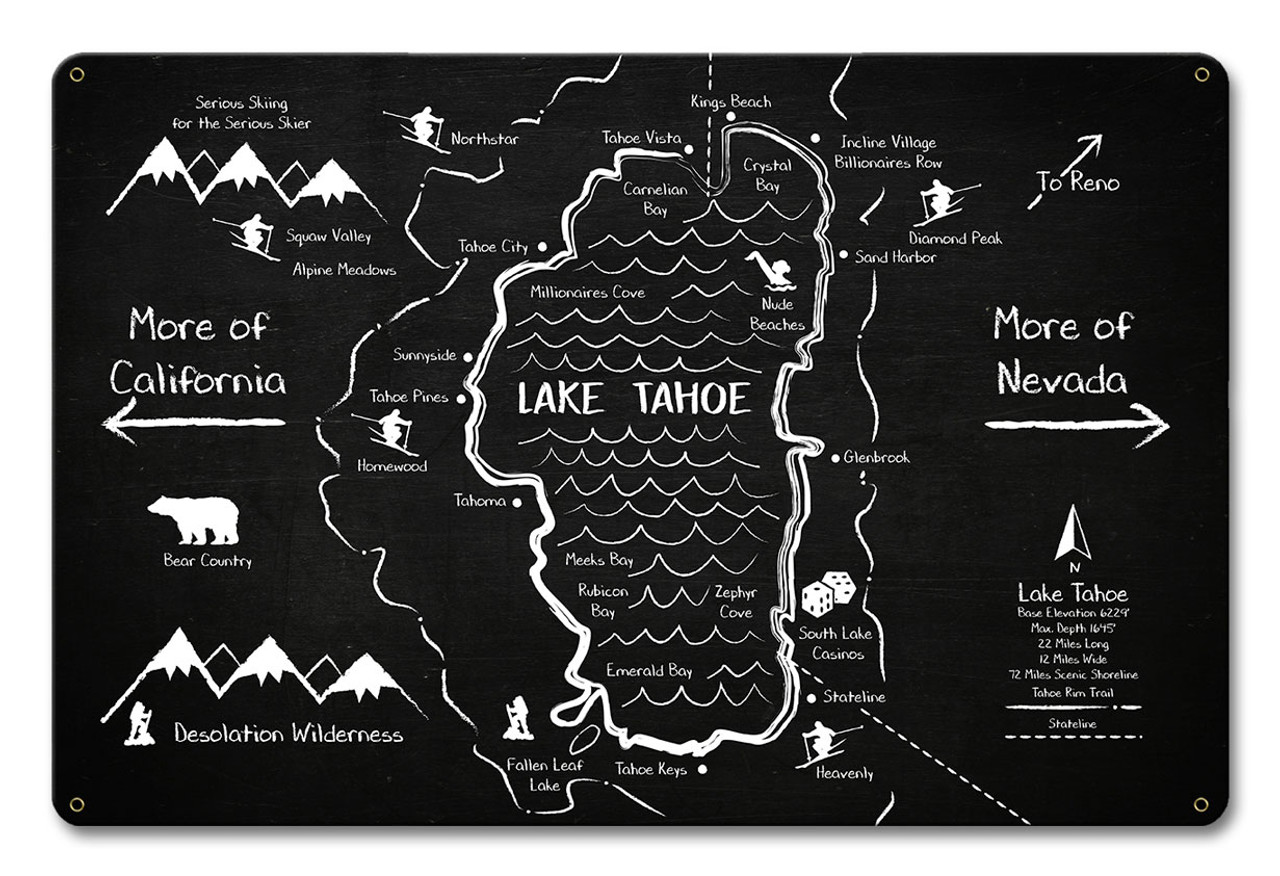 Lake Tahoe Chalk Drawing Metal Sign 18 x 12 Inches